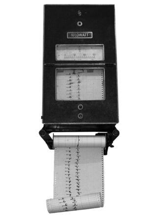 kilowatt: Old wattmeter, measures kilowatts and a graph Stock Photo