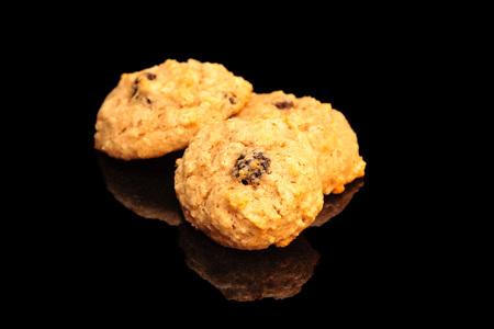Applesauce Raisin Walnut Cookies On A Black Background Banco de Imagens
