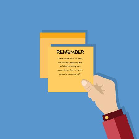 notepaper: Business hand with notepaper on blue background. Illustration