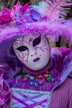 Purple gem feather venice mask costume