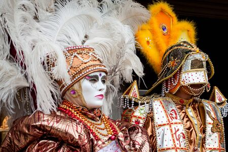 Aztec white gold gem venice mask costume Stock Photo