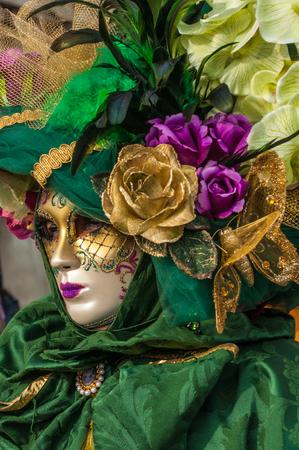 Green gold flower venice mask costume