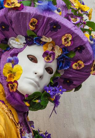 Purple flowers venice mask costume