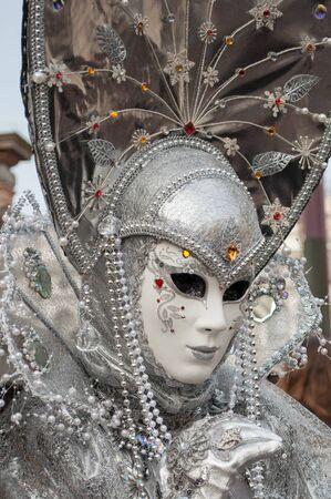 Silver grey venice mask costume