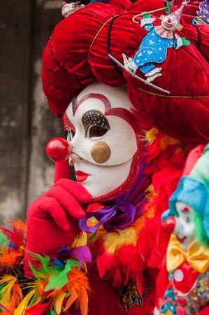 Clown red venice mask costume