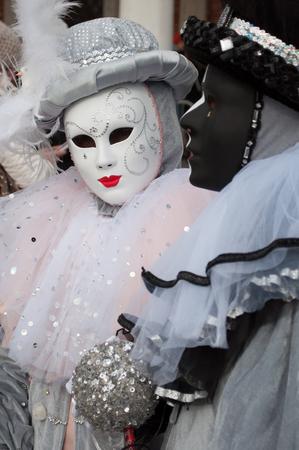 Black white venice mask costume