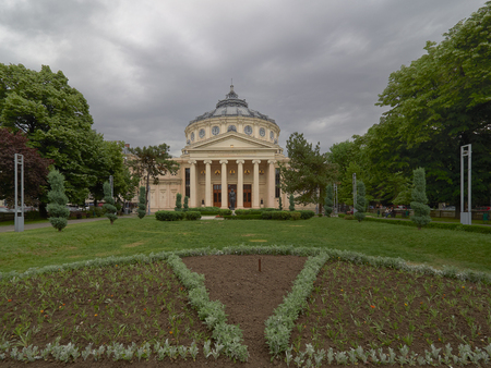The Romanian Atheneum, a concert hall in the center of Bucharest, and a landmark of the Romanian capital city