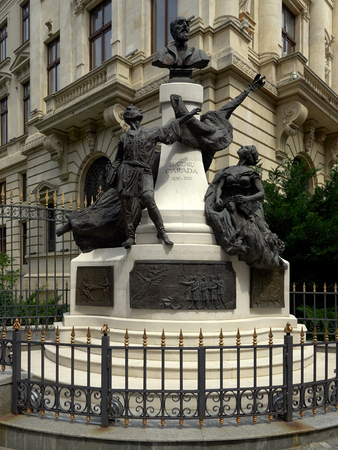 Monument to Eugeniu Carada (1836-1910), founder of The National Bank of Romania, as seen from Lipscani Street Editorial