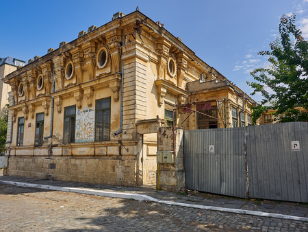 Braila, Romania - May 20, 2018:  Built around 1910, at a strategic point in the old town, the wonderful but in a pitiful Cavadia House - included on the historical monuments list - is representative of the prosperity of the former Braila.