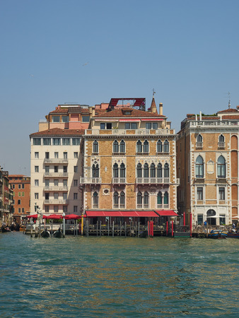 Exterior of the 5-star luxury Bauer Palazzo Hotel, San Marco, Venice, Italy on the Grand Canal