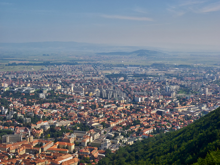 Cityscape of Brasov, Romania, as seen from the Tampa Mountain Stock Photo