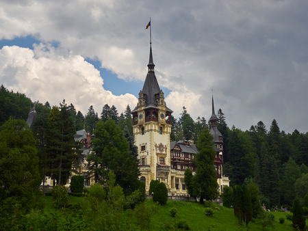 Sinaia, Romania - 7202017: The Peles Castle was the romanian kings summer residence in Carpathian Mountains Editorial