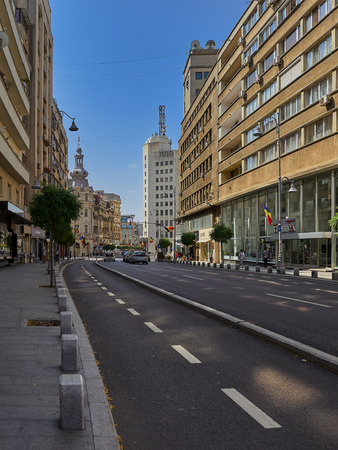 Bucharest, Romania - 06252017: A morning with low traffic values on Victory Avenue (Romanian Calea Victoriei), a major boulevard in central Bucharest