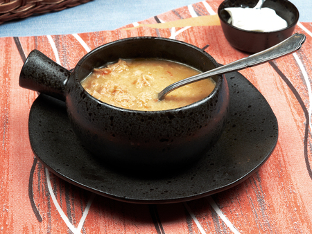 Tripe soup (Romanian: Ciorba de Burta) is a traditional Romanian sour soup made with beef tripe (cows stomach), garlic, sour cream and vinegar.