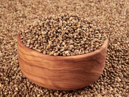 Bowl of hemp seeds. Bird food. Stock Photo