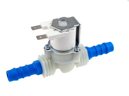 Directly actuated pneumatic valve 24V DC, with sleeve pins for hose connection, isolated on white