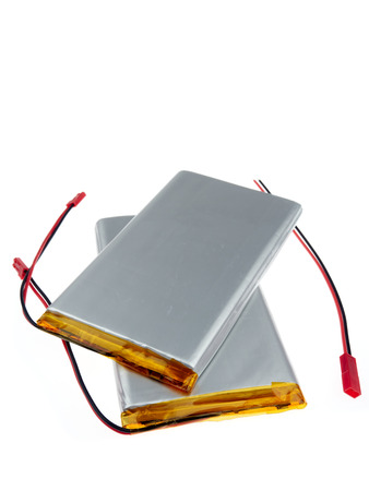 Lithium-ion polymer rechargeable batteries (abbreviated as LiPo, LIP, Li-poly). isolated on white