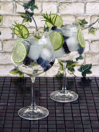 Gin tonic decorated with a rosemary sprig, fresh berries and slices of lime Stock fotó