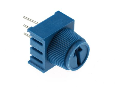 Close-up view of  a blue potentiometer for PCB mounting, isolated on white. Electronics spare parts.