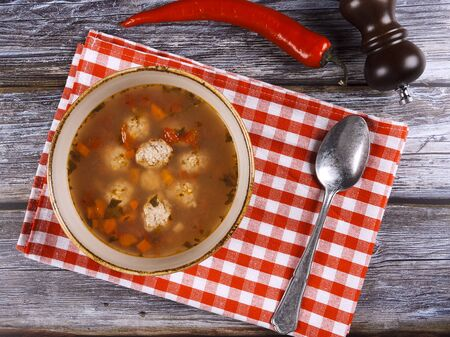Meatball borscht, a traditional Romanian specialty 版權商用圖片