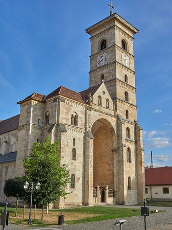 Alba Iulia, Romania - September 20, 2019: The Saint Michael's catholic cathedral within Alba Carolina Fortress. Alba Iulia, Romania Editorial