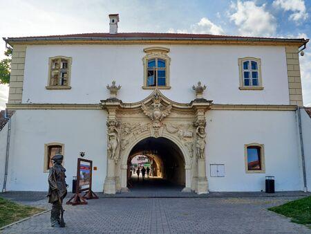 Alba Iulia, Romania - September 20, 2019: The third citadel gate in Alba Iulia, Transylvania, Romania