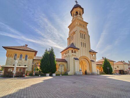 Alba Iulia, Romania - September 21, 2019: View of bell tower of Reunification Cathedral inside Alba Carolina Fortress. Alba Iulia, Romania, Europe Editorial