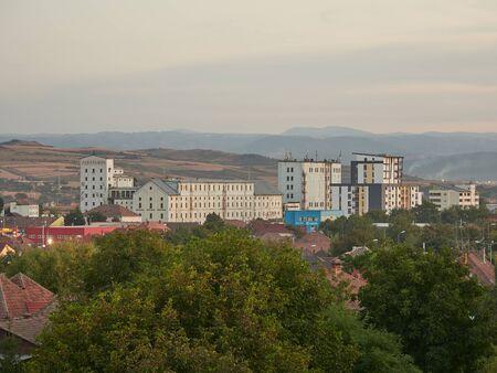 Alba Iulia, Romania - September 22, 2019: Industrial buildings near Alba Iulia railway station