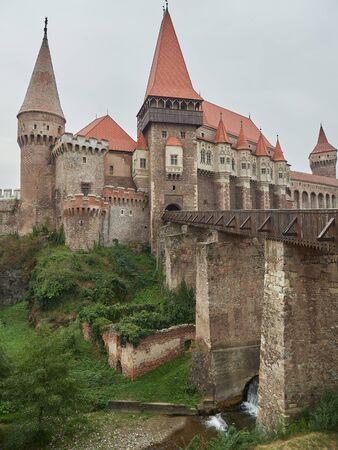 Hunedoara, Romania - September 23, 2019: The Corvin Castle or Hunyadi Castle, is a Gothic-Renaissance castle in Hunedoara, Romania. It's one of the largest castles in Europe.