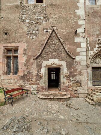 Hunedoara, Romania - September 23, 2019: The Corvin Castle or Hunyadi Castle, is a Gothic-Renaissance castle in Hunedoara, Romania. Interior courtyard. Editorial