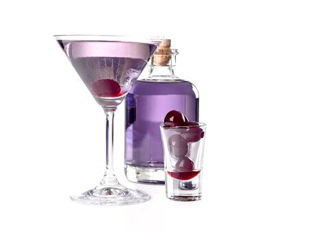 Aviation: a purple-bluish cocktail made with gin, maraschino, crème de violette and a dash of lemon juice, served with a maraschino cherry