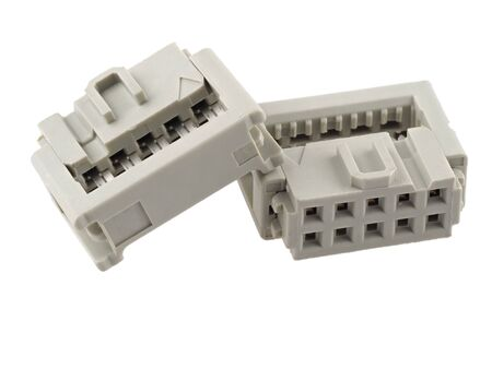 10-pin, 2.54mm IDC connector for ribbon cable, isolated on white