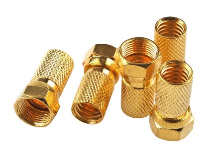 Gold plated F-type connectors for satellite and TV installations, isolated on white
