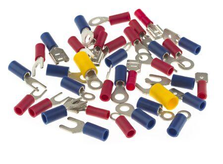 Assortment of crimp terminals, including ring terminals, spade terminals, crimp tab terminals and crimp receptacles Stock Photo