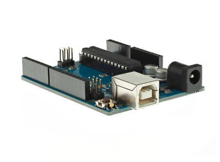 Arduino Uno is a very popular development board for makers and STEM education Stock Photo
