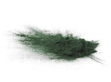 A heap of green spirulina powder, isolated on white background