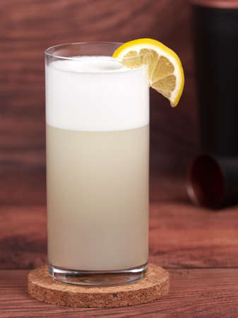 Gin fizz: a cocktail made with gin, lemon juice, simple syrup, egg white and soda water 免版税图像 - 157025455