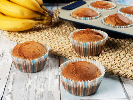 Homemade banana muffins. No sugar added. Healthy toddler food Stock Photo