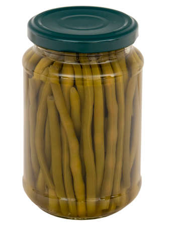 A jar of green beans isolated on white background