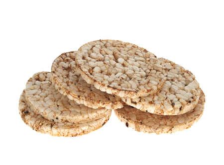 A stack of brown rice cakes, isolated on white Stock Photo