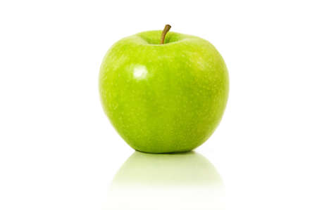 green' white: a green apple with reflection