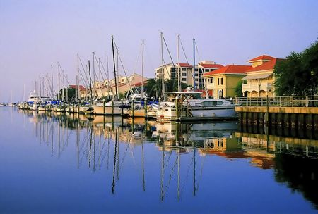the gulf: A row of yachts docked at Port Royal - Pensacola, Florida