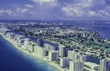 miami sunset: Miami Beach arial photo