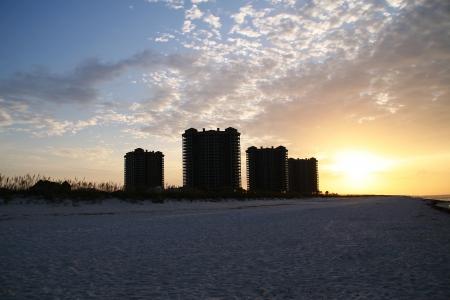 pensacola beach: Beach condos at Pensacola Beach, Florida with the sun rising in the background