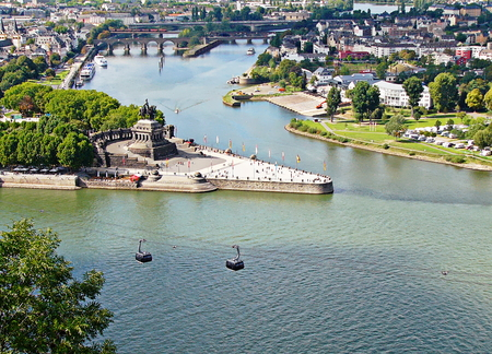 An aerial view of Koblenz and the German Corner
