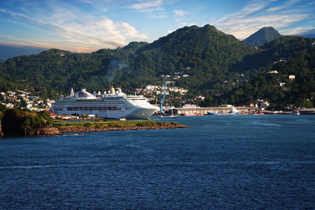 st lucia: Cruise ship docked in St  Lucia
