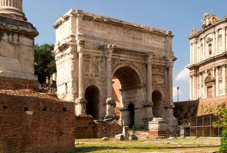 severus: The arch of Septimius Severus was built in 203 AD in honor of the Roman Emperor Severus - Rome, Italy Stock Photo