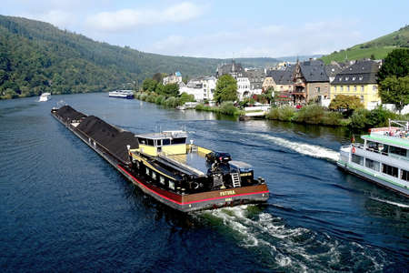 wine trade: A barge hauling freight on the Mosel River in Germany