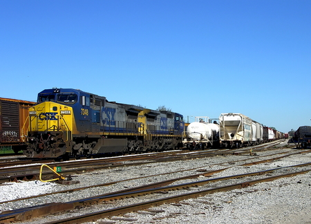 pensacola: A CSX train engine 7348 sitting at the train yard in Pensacola, Florida Editorial
