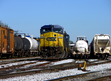pensacola: A CSX train engine 7348 sitting at the train yard - Pensacola, Florida Editorial